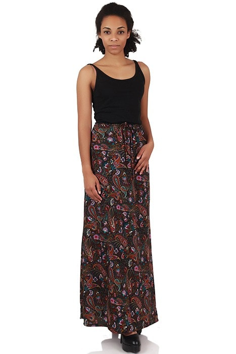 check out 26fa4 d2d00 70er Boho Paisleymuster Maxirock schwarz bunt