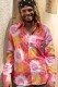 Colourful 70s flower power pattern shirt pink