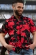 Black retro shirt with red flowers limited M
