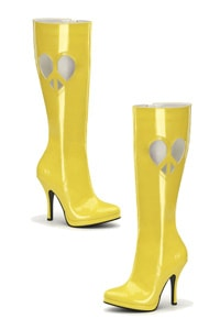 Peace heart knee boot 70s look yellow