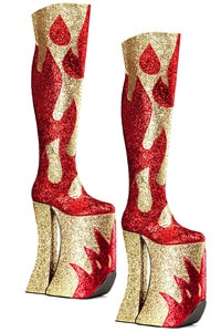 Super hohe 70er Disco Plateaustiefel Gold Rot