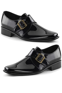 Shiny black loafer with buckle