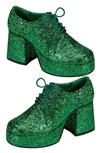 Platform man disco 70s shoe green glitter