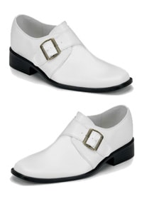 Retro look 70s loafer with buckle shiny white
