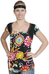 Black girl shirt with colorful power power pattern