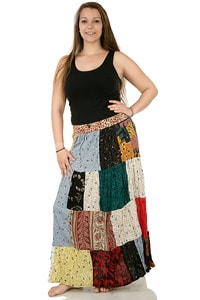 Colourful 70s hippie patchwork skirt