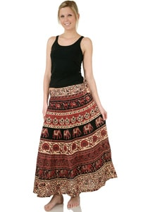 Long 70s hippie wrap-around skirt black red