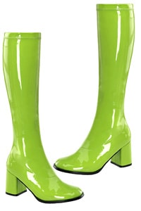 70s retro patent leather platform boots lime