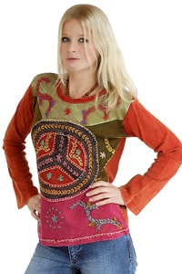 70er Batik Patchwork GOA Shirt Peace rot