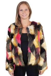 70er Hippie Look Fell Imitat Patchwork Jacke