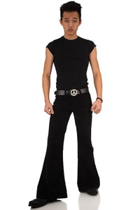 Men corduroy flare pant Star black hippie flarepant