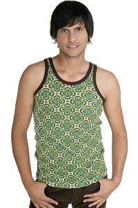 70s flower retro look tanktop green