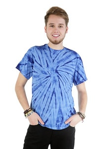 Blue tie-dye t-shirt 70s GOA hippie look
