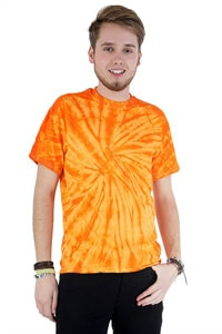 Orange gebatiktes T-shirt 70er GOA Hippie Look