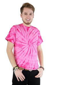 Pink tie-dye t-shirt 70s GOA hippie look