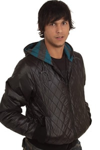 Quilted hooded jacket Blend black