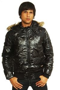 Blend quilted hooded jacket wetlook black