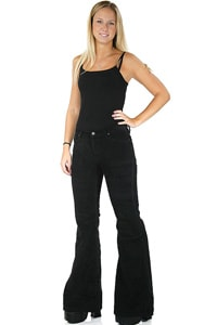 70s woman wale corduroy pant with flare black