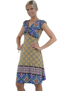 Blau buntes Hippie Retro Look Kleid