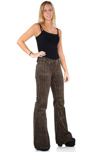 Woman corduroy bellbottom pant brown beige fishbone