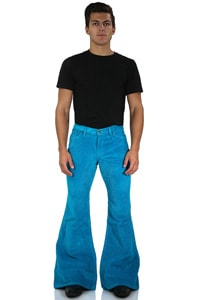 Men Hip flared corduroy pant Star turquoise