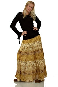 70s hippie flounce skirt long beige
