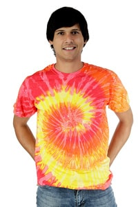 Batik t-shirt Hippie GOA 70s Look Orange