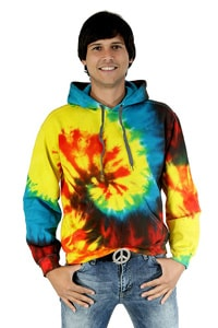 Colourful Hippie GOA tie-dye hooded shirt