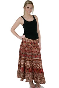 Long hippie wrap-around skirt red