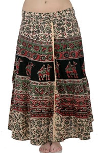 Long hippie wrap-around skirt black green
