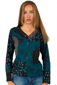 Turquoise multi coloured longsleeved shirt GOA Boho Style