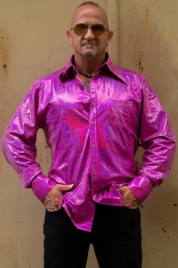 Glitterhemd Pink 70er Jahre Party Hippie Look XL