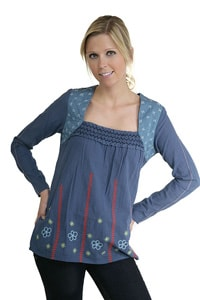 Blue cotton flower blouse embroidered