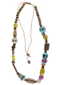 Colourful hippie look wooden beads necklace