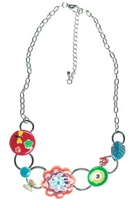 Multicoloured 70s flower necklace