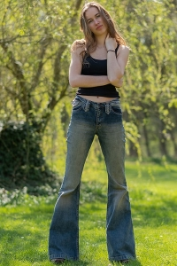 Stretch jeans with flare dirty look Star Rebel