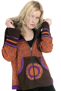 Hippie GOA hooded jacket brown patterned
