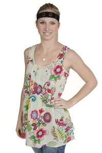 70s hippie top white with colorful flowers