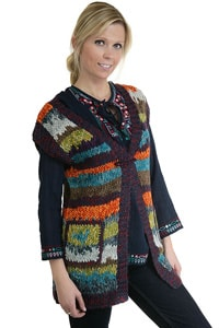 Colourful striped hippie look knitted waistcoat