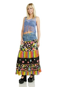 Colourful hippie gipsy look flounce skirt black