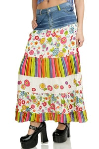Colourful hippie gipsy look flounce skirt white