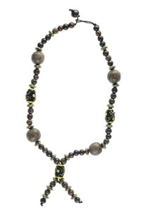 Ethno hippie wood glass beads necklace black