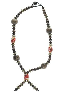 Ethno hippie wood glass beads necklace red