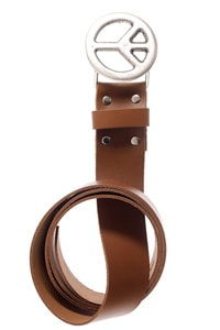 Leather belt Peace buckle brown
