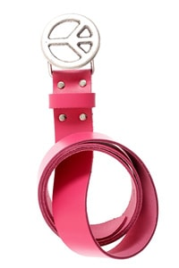 Leather belt pink Peace buckle