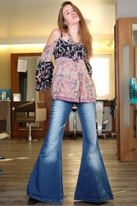 70s Boho hip jeans with super wide flare