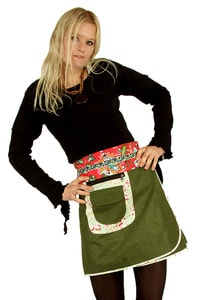 Retro 70s hippie look skirt green