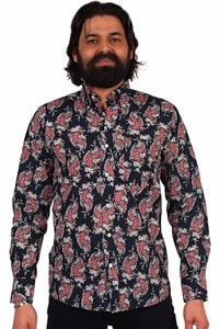 Navy farbenes Paisley Retrohemd weiß rotes Muster
