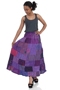 Hippie Look Patchwork skirt purple Boho Style