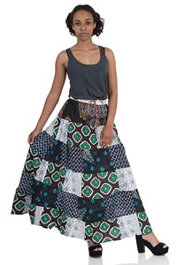 Green colourful Patchwork Boho Hippie long skirt